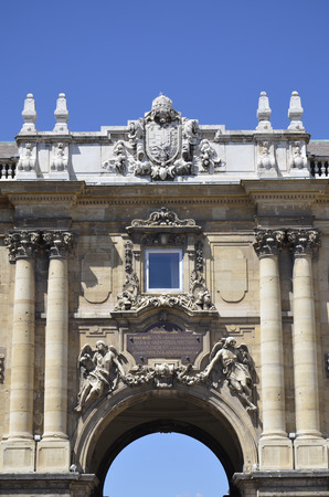 Details of the entrance to the courtyard of the Castle of Budapest. Editorial