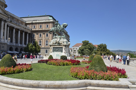 Picturesque view of the inner courtyard of the Royal Palace of Buda, Hungary.