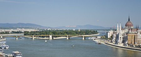 Lovely view of the Parliament building and the Margaret Bridge, Hungary.