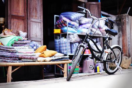 khan: Old bicycles at Chiang Khan, Thailand Stock Photo