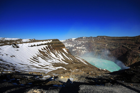 Crater, part of Aso San volcano, Kyushu, Japan. A famous tourist destination.