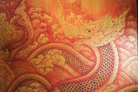 king thailand: Naga, Asian dragon on red background