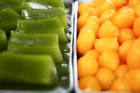 Thai Desserts Khanom Wan Thai with Round Egg Yolk Tart and Layer Sweet Cake