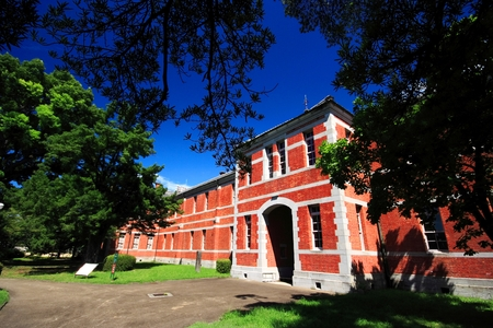 Red brick school building at Kumamoto university, Kumamoto Prefecture, Japan