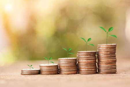 Save Money concept for Financial, Investment and Business with money coin stack for growing with sun light bokeh background. Archivio Fotografico
