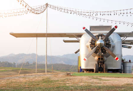 Restaurant modeled from a old plane on the meadow mountain backdrop.