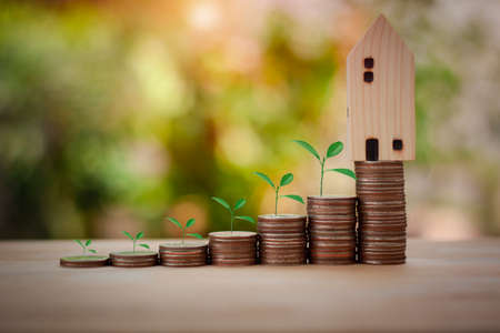 Stacking coins with tree and house model. Saving money and investment to buy house concept. Save for the future some plant is growing up on coin with sun light bokeh background.