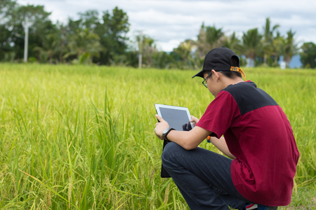 Boy playing tablet in field