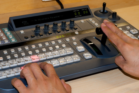 switcher: Professional controlled video production switcher the television broadcast.