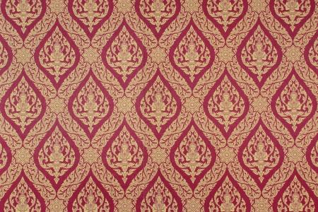 thep: Thailand Thep Phanom pattern gold on red