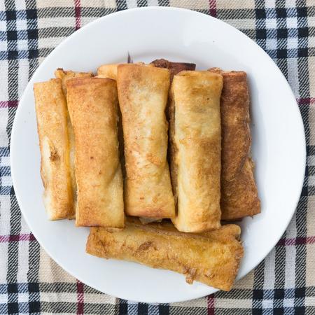 Bread rolls stuffed with bananas