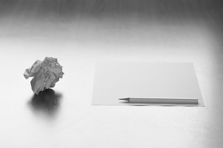 Pencil with blank paper on the desk and thoughtless ideas. Stok Fotoğraf
