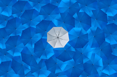 fails: A overturn grey umbrella is different from the blue umbrellas, Being different concepts, Business concept, The failure or the error, The bankrupt, One person who fails, See from top view.