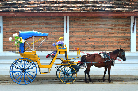 Horse Carriage, Lampang, Thailand, Carriage at Wat Phra That Lampang Luang, Lanna-style Buddhist temple in Lampang Province, Thailand, Travel Thailand Concept