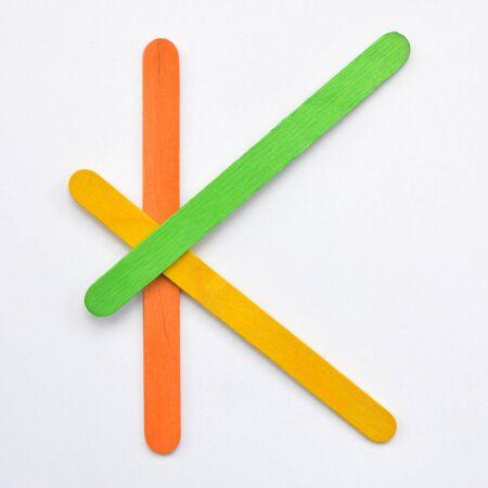 K, The English alphabet from wood sticks, isolated on white background. Stock fotó