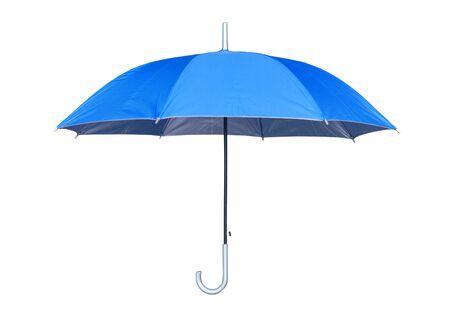 Blauer Regenschirm lokalisiert auf weißem Hintergrund. Seitenansicht.