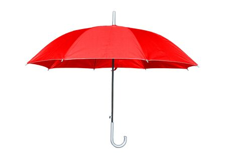Red umbrella isolated on white background. Side view.