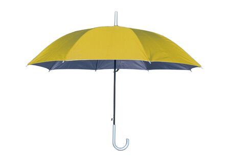 Paraguas amarillo aislado sobre fondo blanco. Vista lateral.