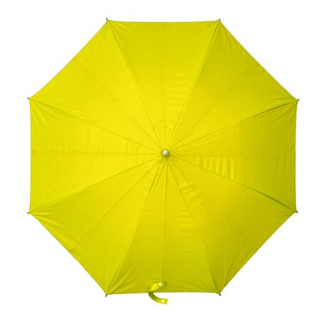 Yellow umbrella isolated on white background. top view.  Archivio Fotografico