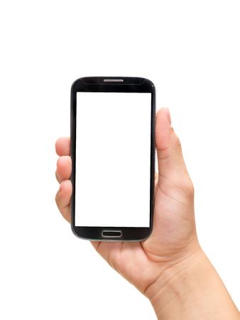Hand, die intelligentes Telefon Handy hält Standard-Bild - 45656804