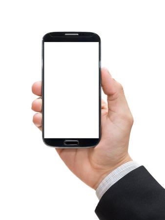 Main d'homme d'affaires tenant un téléphone intelligent Banque d'images - 45706185