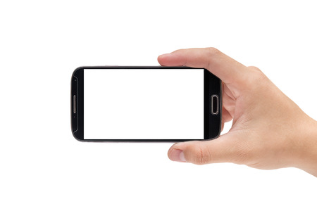 using phone: Hand holding smart phone Mobile Phone Stock Photo