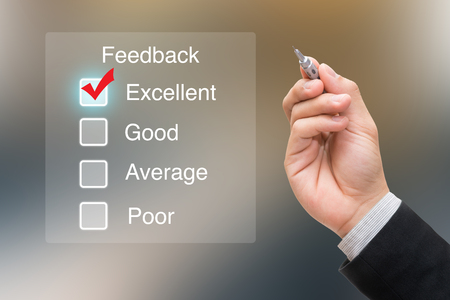 testimonial: Hand clicking feedback on virtual screen