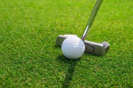 Mettre une balle de golf sur le green Banque d'images - 47787349