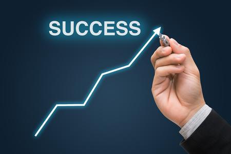 Businessman hand draws business success graph concept