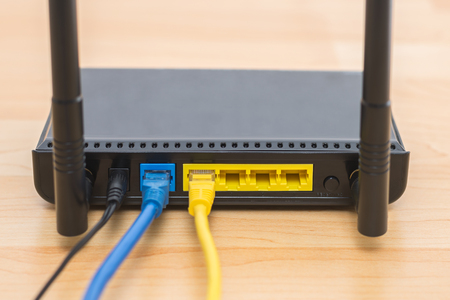 Wireless modem router with cable connecting 版權商用圖片