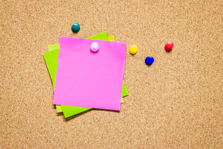 Empty pinned notes on cork board (bulletin board), empty space for text Stock fotó