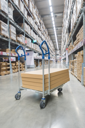 Boxes on storage cart in warehouse