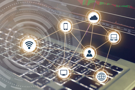 Wireless communication network on computer background Stock fotó