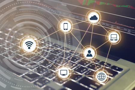 Wireless communication network on computer background 版權商用圖片