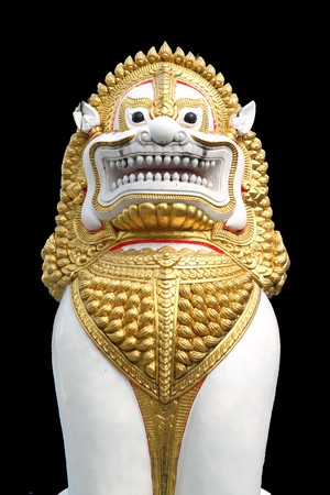 godliness: Golden lion statuary,can see them in thailand-china temple Stock Photo