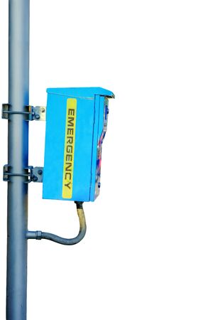 Blue emergency security box installed on steel pole Stock Photo