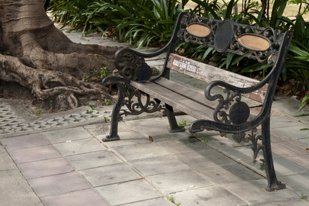 inconstant: The old chair is shared. Conditions in the wet pavement failures. Stock Photo