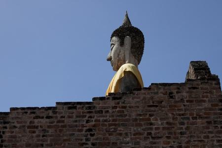 venerate: Buddha at Wat Yai Chai Mongkol. In Ayutthaya, Thailand