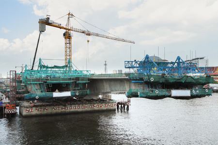 across: Build a bridge across the river