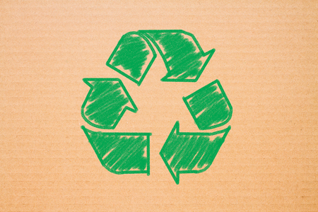logo recycle on brown paper background