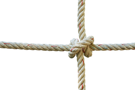 fastening objects: jute rope with knot isolated on white background with clipping path