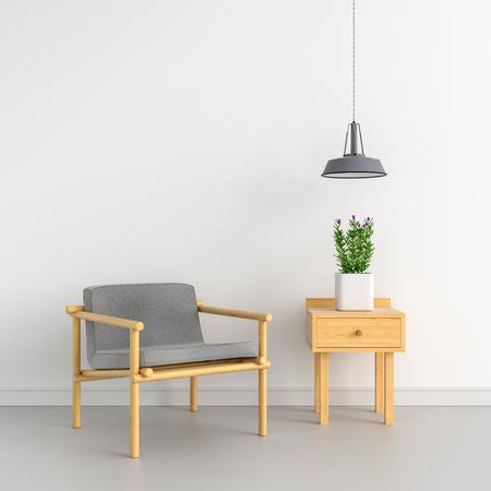 Sillón gris en sala blanca y espacio en blanco para maqueta, renderizado 3D