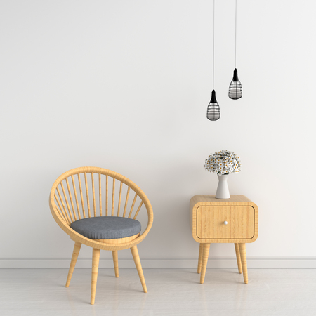 gray chair in white room for mockup, 3D rendering Фото со стока