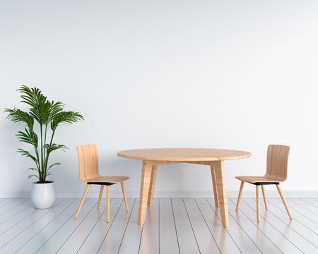 Sedie e tavoli in legno in camera bianca. Rendering 3D Archivio Fotografico