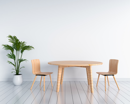 Wooden chairs and tables in white room. 3D rendering Imagens