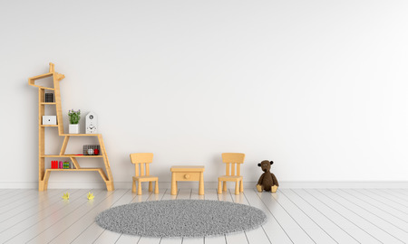 wood table and chair in white child room for mockup, 3D rendering Foto de archivo