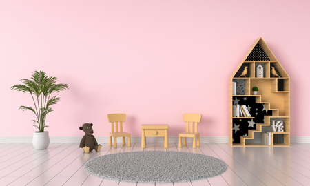 Pink child room interior for mockup, 3D rendering