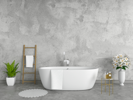 Bathroom interior bathtub, loft style, 3D rendering 스톡 콘텐츠