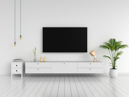 TV de pantalla ancha y aparador en la sala de estar, renderizado 3D Foto de archivo