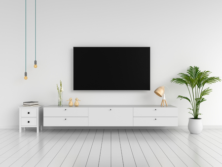 Widescreen TV and sideboard in living room, 3D rendering Stock Photo